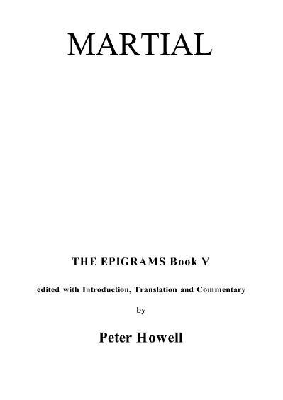 Martial Epigrams V