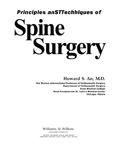 Principles and Techniques of Spine Surgery