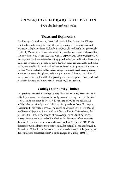 Cathay and the Way Thither, Volume 2 Being a Collection of Medieval Notices of China