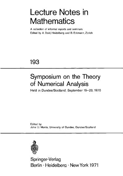 Symposium on the Theory of Numerical Analysis Held in DundeeScotland, September 15...