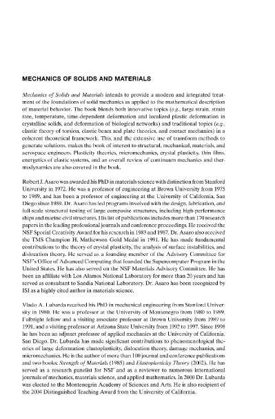 Mechanics of Solids and Materials