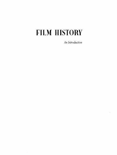 Film History  An introduction Kristin Thompson, David Bordwell