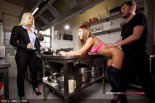 [Nathansluts.com / ElegantRaw.com] Blanche Bradburry, Ally Breelsen (Hell Kitchen 1 / Sex & Kitchen Ep.1 ) [2018-02-12, Anal, Ass, Ass to Mouth, Babe, Threesome, 2160p]