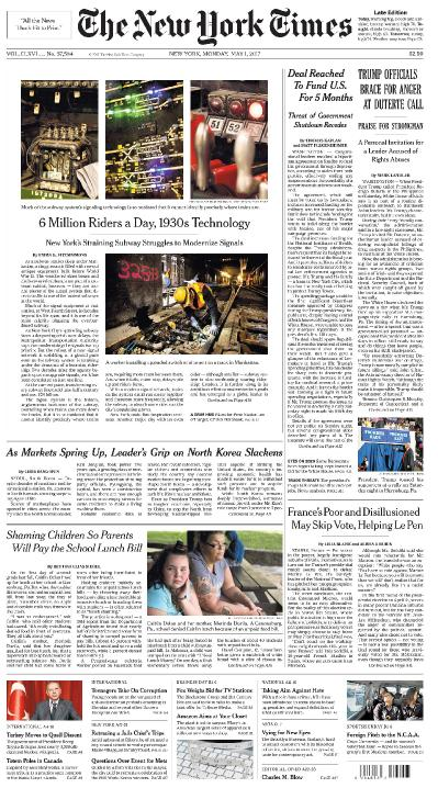 The New York Times  May 1 (2017)