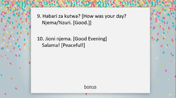 Learn swahili in 30 minutes